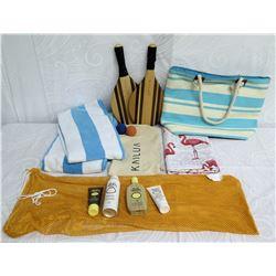 Beach Lot: 2 Towels, Striped Tote Bag, 2 Paddles, Lotion & Tan Mesh Bag