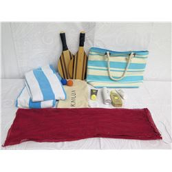 Beach Lot: 2 Towels, Striped Tote Bag, 2 Paddles, Lotion & Red Mesh Bag