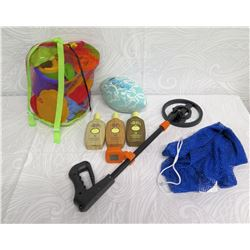Beach Lot:  Portable Metal Detector, Football, Toys: Pail & Shovels, Blue Bag, etc