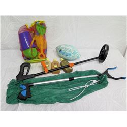 Beach Lot:  Portable Metal Detector, Picker, Toys: Football, Pail & Shovels, etc