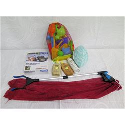 Beach Lot:  Solar Shower, Picker Tool, Toys: Football, Pail & Shovels, Red Bag, etc