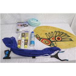 Beach Lot: Picker Tool, Skimboard, Solar Shower, Football, Lotions, Blue Bag, etc