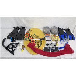 Beach Lot: Picker Tool, Skimboard, Snorkel, Fins, Goggles,, Lotions, Red Bag, etc
