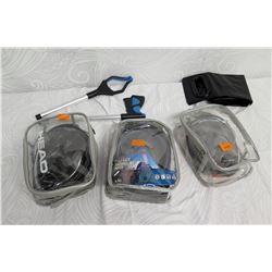Qty 3 HEAD Full Face Snorkeling Masks, Picker Tool, etc