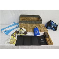 """Beach Lot: Wicker Basket, Towels, Lotions, """"Sun Bum"""" Toy, Solar 21 Charger, etc"""