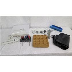 Screwdriver Set, Surge Protector, Wax Sheets, Glassware, Brush, Tent Spikes, etc