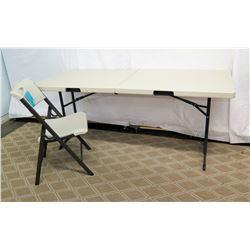 Plastic Folding Table & Lifetime Chair w/ Metal Legs