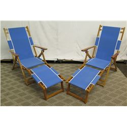 Qty 2 Folding Beach Lounge Chairs w/ Blue Canvas