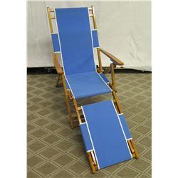 Qty 1 Folding Beach Lounge Chair w/ Blue Canvas