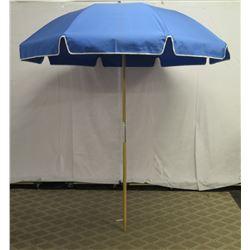 Blue Beach Umbrella w/ Wood Pole