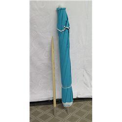 Aqua Beach Umbrella w/ Wood Pole