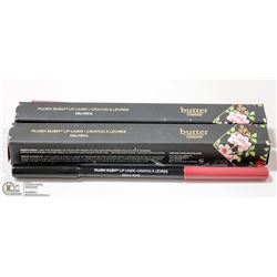 2PK BUTTER LONDON PLUSH RUSH LIP LINER; RED HOT &