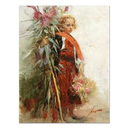 "Pino (1939-2010), ""Flower Child"" Artist Embellished Limited Edition on Canvas, AP Numbered and Hand"