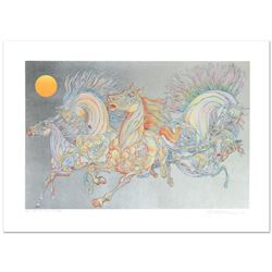 "Guillaume Azoulay, ""Lever De Soleil"" Limited Edition Serigraph with Hand Laid Silver Leaf, Numbered"