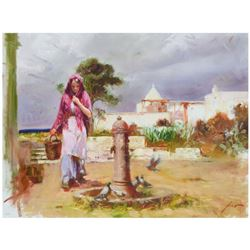 """Pino (1939-2010), """"The Water Fountain"""" Limited Edition Artist-Embellished Giclee on Canvas. Numbered"""