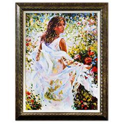 "Igor Semeko- Hand Embellished Giclee on Canvas ""Lady in White Dress"""