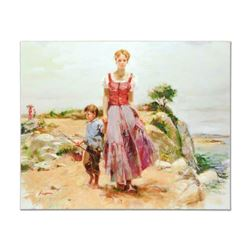"""Pino (1939-2010), """"Cliffside at the Sea"""" Artist Embellished Limited Edition on Canvas (40"""" x 32""""), A"""