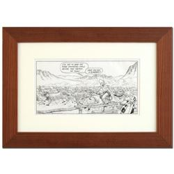"""Bizarro, """"Old West Stampede"""" is a Framed Original Pen & Ink Drawing by Dan Piraro, Hand Signed by th"""
