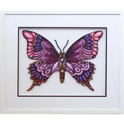 "Patricia Govezensky- Original Painting on Laser Cut Steel ""Butterfly CCXX"""