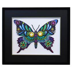 "Patricia Govezensky- Original Painting on Laser Cut Steel ""Butterfly CCXV"""