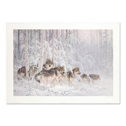 "Larry Fanning (1938-2014), ""Crystal Forest - Gray Wolves"" Limited Edition Lithograph, Numbered and H"
