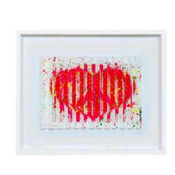 """E.M. Zax- One-of-a-kind 3D polymorph mixed media on paper """"Leave and Love"""""""