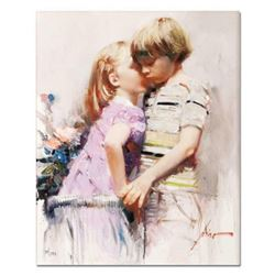 "Pino (1939-2010), ""The Kiss"" Artist Embellished Limited Edition on Canvas, Numbered and Hand Signed"
