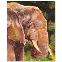 """Elephant"" Limited Edition Giclee on Canvas by Stephen Fishwick, Numbered and Signed. This piece com"
