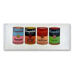 "Steve Kaufman (1960-2010), ""4 Soup Cans State One"" Hand Signed HC Edition Hand Pulled silkscreen mix"