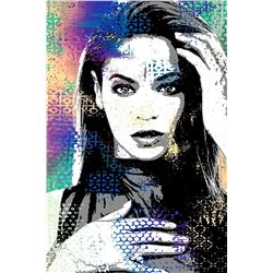 "Shlomi J- Original one of a kind mixed media on canvas with glass glitter ""Beyonce"""
