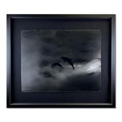 "Wyland, ""Dolphin Storm"" Hand Signed Original Painting on Paper with Letter of Authenticity."