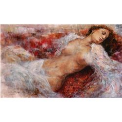 """Gary Benfield """"Red Chaise"""" Giclee on Canvas"""