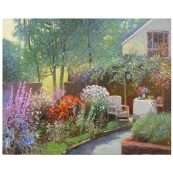 """Ming Feng, """"Afternoon in the Garden"""" Original Oil Painting on Canvas, Hand Signed with Letter of Aut"""