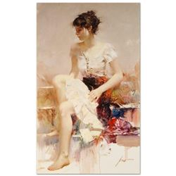 """Pino (1939-2010), """"White Lace"""" Artist Embellished Limited Edition on Canvas (24"""" x 40""""), AP Numbered"""