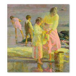 """Don Hatfield, """"Playing at the Shore"""" Hand Embellished Limited Edition on Canvas, Numbered LXXVIII/C"""