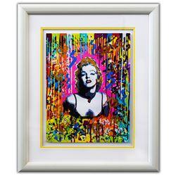 "Nastya Rovenskaya- Original Mixed Media on Paper ""Pink Marilyn"""