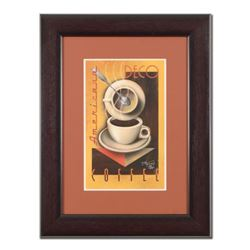 """Mike Kungl, """"Deco Coffee"""" Framed Limited Edition Giclee, Numbered and Hand Signed with Certificate o"""