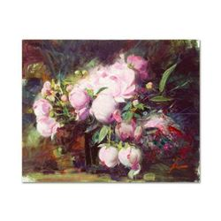 """Pino (1939-2010), """"Peonies"""" Artist Embellished Limited Edition on Canvas, AP Numbered and Hand Signe"""
