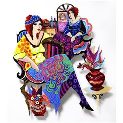 """Patricia Govezensky- Original Painting on Cutout Steel """"We'll be together"""""""
