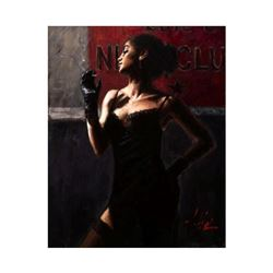 """Fabian Perez, """"Sensual Tch In/DarkII"""" Hand Textured Limited Edition Giclee on Board. Hand Signed and"""