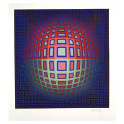"Victor Vasarely (1908-1997), ""Blue Composition"" Hand Signed Limited Edition Serigraph with Letter of"