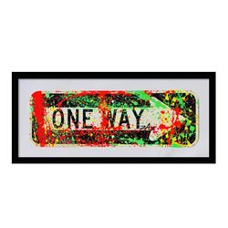 "E.M. Zax, ""One Way"" Framed Original Hand Painted Metal Street Sign, Hand Signed with Letter of Authe"