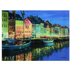 "Howard Behrens (1933-2014), ""As Night Falls, Copenhagen"" Limited Edition on Canvas, Numbered and Sig"