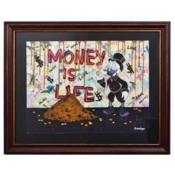 "Nastya Rovenskaya- Mixed Media on Paper ""Money is Life"""