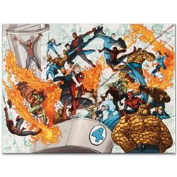 """Marvel Comics """"Spider-Man/Fantastic Four #4"""" Numbered Limited Edition Giclee on Canvas by Mario Albe"""