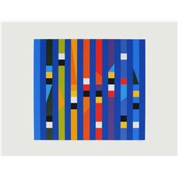 "Yaacov Agam- Screenprint ""Cinetique Fond bleu"""