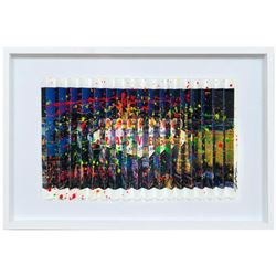 """E.M. Zax- One-of-a-kind 3D polymorph mixed media on paper """"Vegas Strong"""""""