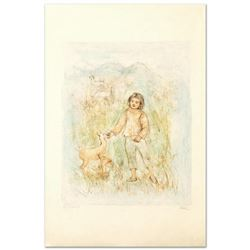 """""""The Forest Friend"""" Limited Edition Lithograph by Edna Hibel (1917-2014), Numbered and Hand Signed w"""