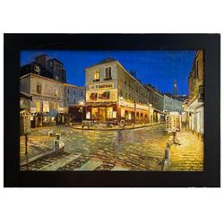 """Howard Behrens (1933-2014), """"Evening in Montmarte"""" Hand Signed Original Painting on Canvas with Cert"""