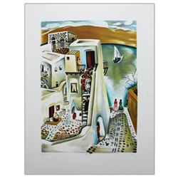 "Nachum Gutman- Original Lithograph ""Upstairs """